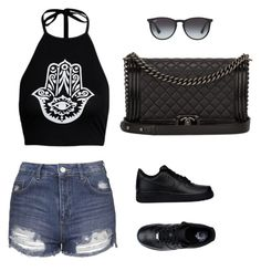 """Black"" by prosvetovajane ❤ liked on Polyvore featuring Topshop, NIKE, Chanel and Ray-Ban"
