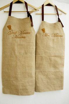 Set of two Monogram Burlap full kitchen apron for women in beige