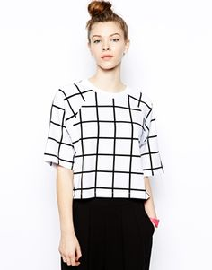 Monki Grid Print Sweat