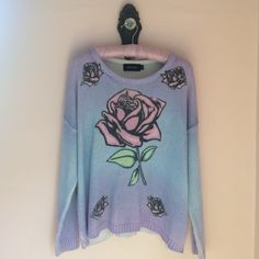 Pastel Mink Pink Sweater  I call this one Beauty & the Beast. Adorable never worn sweater, with roses and pastel gradation. Size large, hand wash  MINKPINK Sweaters