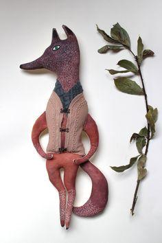 Mr Wolf Gustav fabric art doll by  Pantovola