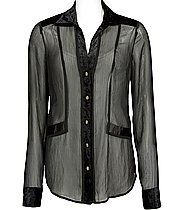 See through black blouse with velvet trim and a sequin tank with jeans! #festivewear