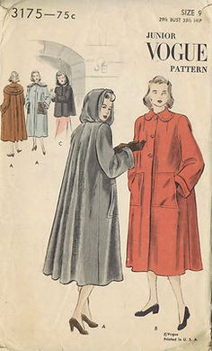Vintage 40's Coat Pattern in Two Lengths with Attached Hood    Full-length or short Coat pattern.  Straight fronts, full flared back.  Two large patch pockets.  Turned-down shaped collar or attached hood.  Hood forms a shoulder cape when off the head.  Long wide sleeves with cuffs.