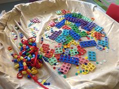 Nursery Maths- Numicon in a tuff spot just adds appeal and invites children to explore.