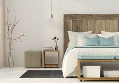Interior of the bedroom in a minimalist style with wooden furniture , Best Bedroom Colors, Bedroom Colour Palette, Bedroom Minimalist, Minimalist Interior, Minimalist Style, Interior Minimalista, Feather Wall Art, Feather Painting, Bedroom Ideas