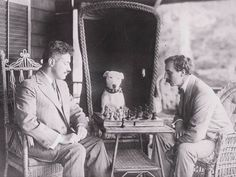 Ernest Schelling's dog is confused about why *anyone* would put their queen in such a vulnerable spot on the board.