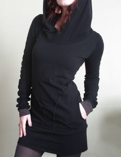 hooded tunic dress with pockets Black/Cement grey by joclothing. , via Etsy.