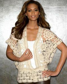 Love this-Bolero crochet inspiration Gilet Crochet, Crochet Jacket, Crochet Cardigan, Knit Crochet, Irish Crochet, Bolero Crochet, Crochet Tops, Mode Crochet, Crochet Woman