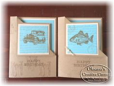 Cool Flip corner cards! Created with the Stampin Up Bt the Tide and Guy Greetings stamp sets. Oksana shares instructions for these cards on her blog