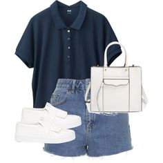 A fashion look from June 2015 featuring navy polo shirt, high-waisted cut-off shorts and canvas sneakers shoes. Browse and shop related looks. Cute Casual Outfits, Retro Outfits, Stylish Outfits, Summer Outfits, Baskets Louis Vuitton, Kpop Fashion Outfits, Looks Chic, Layering Outfits, Mode Style