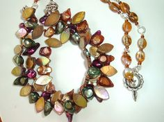 Pearl and Shell Necklace by extravagantdesigns on Etsy, $30.00