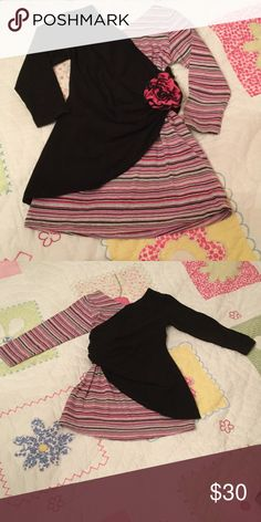 Little girl's tunic Beautiful little girls boutique tunic. V neck and back. Silver, pink, purple, black and gray stripes with pink flower at gathered waist. Adorable on!  Excellent gently worn condition. Love You Lots Shirts & Tops