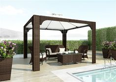 zostava z umeleho ratanu hneda Gazebo, Pergola, Garden Furniture, Outdoor Structures, Patio, Brown, Outdoor Decor, Color, Gray