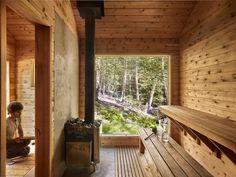 A peek inside the afore-mentioned sauna. Bathers enter into a changing room which houses the sauna stove, custom built by New York… Sauna House, Sauna Room, Rustic Saunas, Swedish Sauna, Building A Sauna, Cedar Bench, Traditional Saunas, Outdoor Sauna, Sauna Design