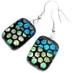 Handgemaakte zwart-blauw-groene glazen oorbellen van dichroide glas!