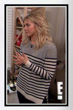 Buy Julianne Hough's Vince Breton Striped Cashmere Sweater - interview on E! News (December 2013).