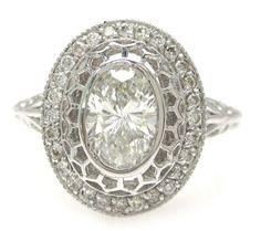 Oval cut diamond engagement ring art deco 1.28ctw by KNRINC, $4299.00