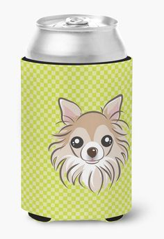Checkerboard Lime Green Chihuahua Can or Bottle Hugger BB1313CC