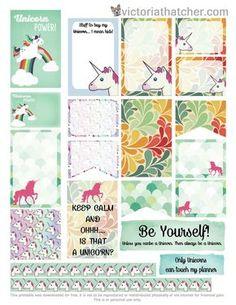 Free Printable Unicorn Planner Stickers from Victoria Thatcher To Do Planner, Free Planner, Happy Planner, Planner Ideas, Harry Potter Disney, Planner Decorating, Personal Planners, Printable Planner Stickers, Planner Organization