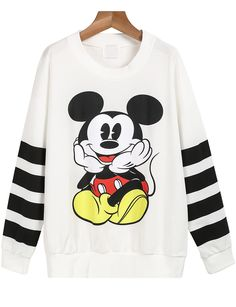 White Striped Long Sleeve Mickey Print Sweatshirt 17.67