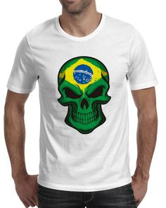 Brazilian flag skull t shirt for men white tee xxxl short sleeve