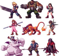 "JRPG Characters Look So Good As 2D Sprites. FF7 characters designed by Pixel Artist Daniel ""Abysswolf"" Oliver'"