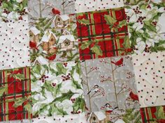 Quilted Christmas Table Runner with Birds and Birdhouses, Red Green and White, Christmas Table Mat, Quilted Christmas Table Topper by SusiQuilts on Etsy