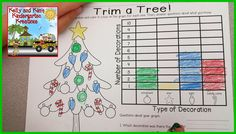 Count and Graph to trim the Christmas tree....Great Christmas-themed math printable for FREE from Kelly and Kim's Kreations!
