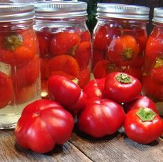 Pickled cherry peppers - works with little sweet peppers too!
