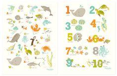 Sea & Shore Numbers / Alphabet Poster Set - Nursery art for children