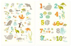 I want these!!!  I have developed a new addiction for ETSY!!!  Sea & Shore Numbers / Alphabet Poster Set by SeaUrchinStudio, $40.00