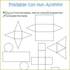 three dimensional shape cut outs 3d Shapes Worksheets, Shapes Worksheet Kindergarten, Kindergarten Math, Teaching Math, 3 Dimensional Shapes, Fun Math, Maths, Sorting Activities, First Grade Math
