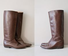 brown leather boots / riding boots / tall leather boots / Crispen boot. $56.00, via Etsy.