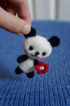 Needle Felted Panda Wool Panda with Red by JanetsNeedleFelting