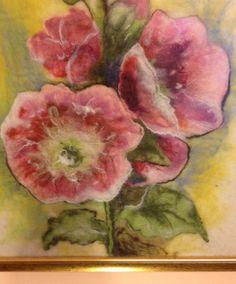 Alcea Hollyhocks felted painting by DreamsGateway on Etsy