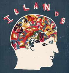 Client - Paper Tigers Lead illustration for short fiction - 'Islands'. Printmaking, Title Design, Illustration, Screen Printing, B Rain, Lettering, Traditional, Prints, Colours