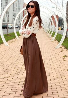 Brown maxi skirt.  Neutral and easy to pair #fashion #simple #modest