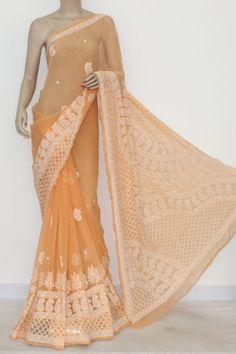 Light Orange Hand Embroidered Lucknowi Chikankari Saree (With Blouse - Georgette) 14484