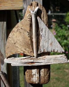 Hand Made Drift Wood Sail Boat Wall Hanging-Made From Drift Wood Gathered From The Shores Of New Englang-Simple, Beautiful. $45.00, via Etsy.
