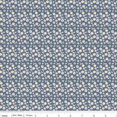 Riley Blake, A Beautiful Thing, Beautiful Flowers Navy. 100% cotton. In stock now: www.heidisden.co.uk