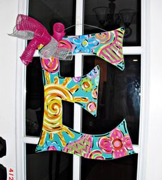Alphabet Wood Cut Out Hanger by TheWaywardWhimsy on Etsy Painting Wooden Letters, Painted Letters, Wood Letters, Painted Doors, Decorated Letters, Diy Letters, Letter Door Hangers, Initial Door Hanger, Wooden Door Hangers