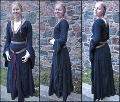 Blue Linen Bliaut by ~Arasiyris on deviantART - yarn tassel attached to woven-look ribbon for belt.