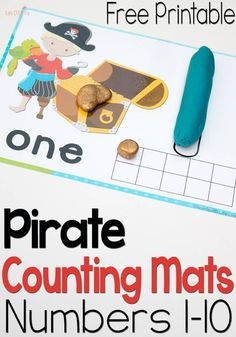 free pirate play dough mats are amazing! They combine numbers, words, counting and ten-frames! So versatile.These free pirate play dough mats are amazing! They combine numbers, words, counting and ten-frames! So versatile. Preschool Pirate Theme, Pirate Activities, Math Activities For Kids, Hands On Activities, Kindergarten Math, Preschool Activities, Preschool Learning, Preschool Curriculum, Preschool Classroom