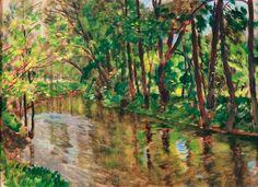 ANTONÍN HUDEČEK (1872-1941) River landscape Říční krajina