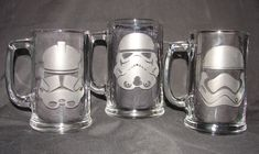 Star Wars Stormtrooper Helmets Set of 3 Hand Etched Beer Mugs or Pint Glass by TheLuckyRabbitFarm on Etsy