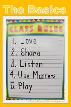 Preschool Poster of Class Rules: the Basics (from article w 19 different classroom examples of rules)