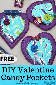 Free Sewing Tutorial: These little heart pockets are quick to make, tasty, and full of love. Use the free sewing tutorial from Lazy Girl Designs, then fill each heart with candy or a love note. Perfect for Hershey's miniatures or Ghirardelli chocolate squares and perfect for gifting. #DIYValentine