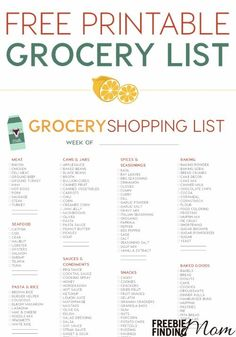 Don't you hate it when you get home from the store only to realize you forgot something? Eliminate this problem by using this Free Printable Grocery List. You'll quickly and easily be able to run down this comprehensive grocery shopping list and check the items you need; therefore it will save you time, frustration, and possibly even money. Happy Shopping!