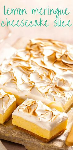 Lemon juice makes this cheesecake tart and tasty, especially when topped with creamy meringue. Lemon juice makes this cheesecake tart and tasty, especially when topped with creamy meringue. Lemon Desserts, Lemon Recipes, Just Desserts, Sweet Recipes, Lemon Meringue Cheesecake, Cheesecake Recipes, Dessert Recipes, Fruit Cheesecake, Sweets