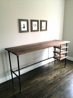 Enjoy your workspace. The Wyatt Desk can be made as either a seated desk OR a standing desk. Its made from thick black walnut and steel pipe frame